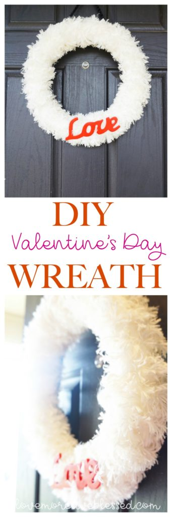 Valentine's Day Wreath DIY. A super simple craft you can finish in one hour plus you can find all the supplies at Walmart or any hobby store. I love how fluffy and pretty this DIY wreath turned out! Perfect for craft night. DIY | Valentine's Day Wreath | Easy wreath