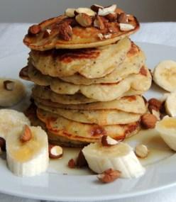 Banan og blå birkes pandekager