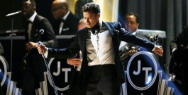 Timberlake performs at the 55th annual Grammy Awards in Los Angeles