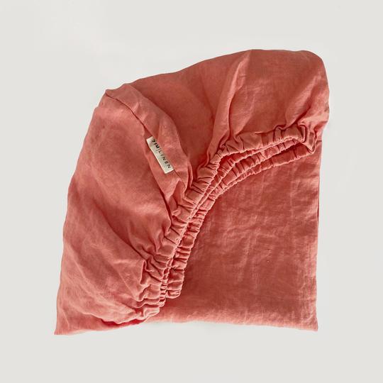 7 Pm Linen Cot Sheet (coral)