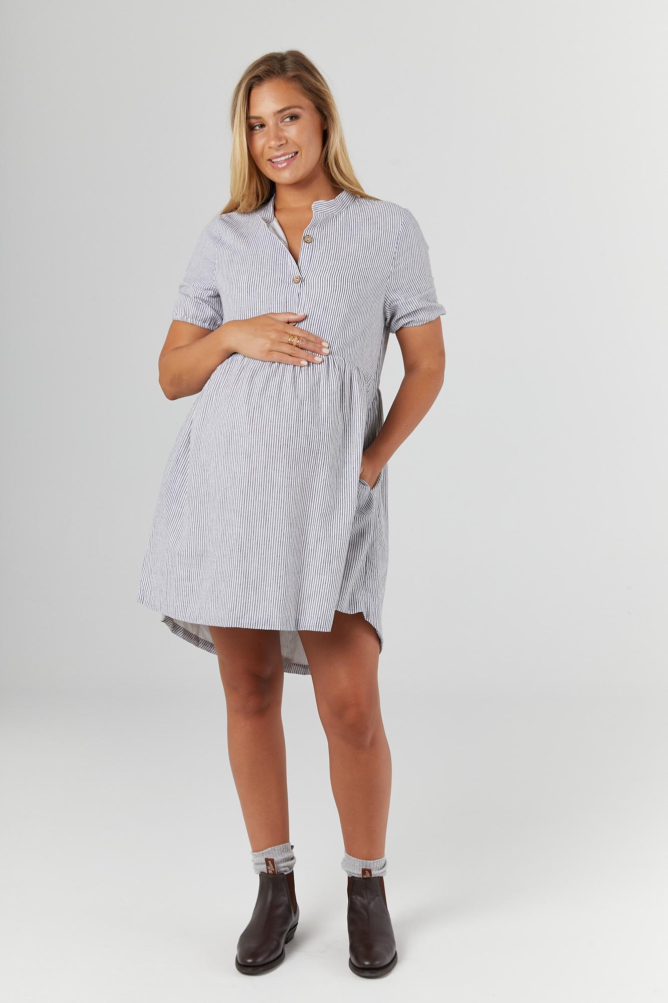 Legoe Heritage Santorini Dress (charcoal stripe)