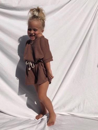 By Billie Waffle Cotton Shorts Set Walnut