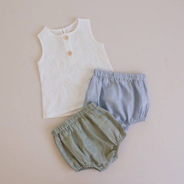 Two Darlings Linen Nappy Cover - ocean