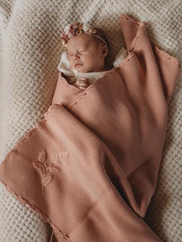 Pop Ya Tot Heirloom Embroidered Blanket (rose)