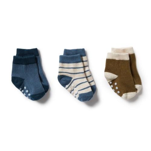 Wilson and Frenchy 3 Pk Baby Socks (denim blue, legion blue, olive)