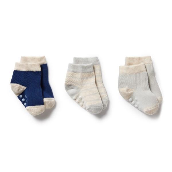 Wilson and Frenchy 3 Pk Baby Socks (navy peony, oatmeal, glacier grey)