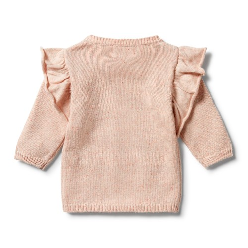 Wilson and Frenchy Knitted Ruffle Jumper (flamingo oatmeal fleck)