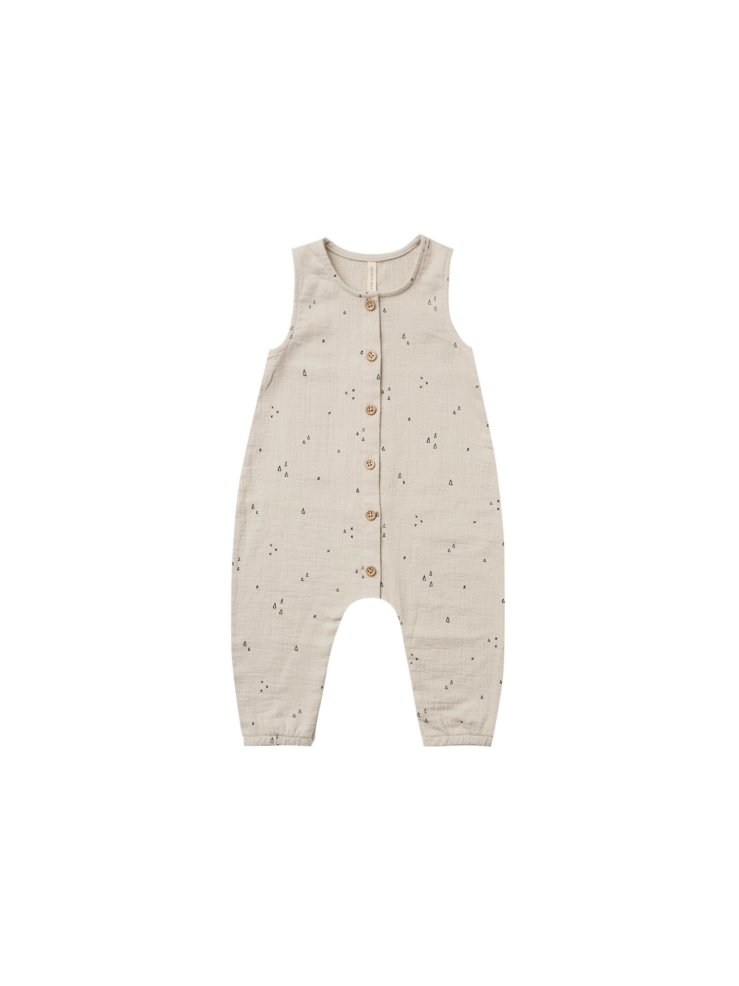 Quincy Mae Baby Woven Button Jumpsuit (ash/geo)