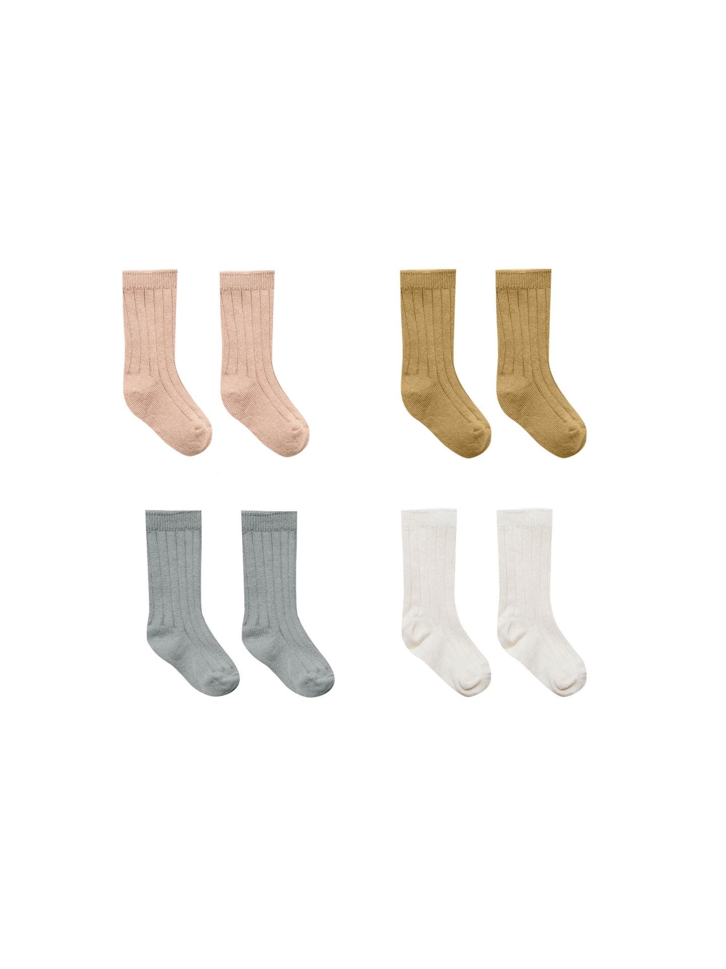 Quincy Mae Baby Socks 4 Pack (ivory, ocean, petal, gold)