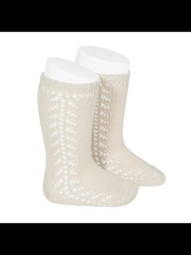 Condor Side Openwork Knee High Socks (303) (cream/cava)