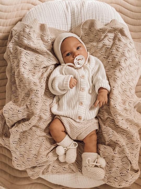 Little B's Nursery Woodlands Heirloom Blanket  (honey milk)