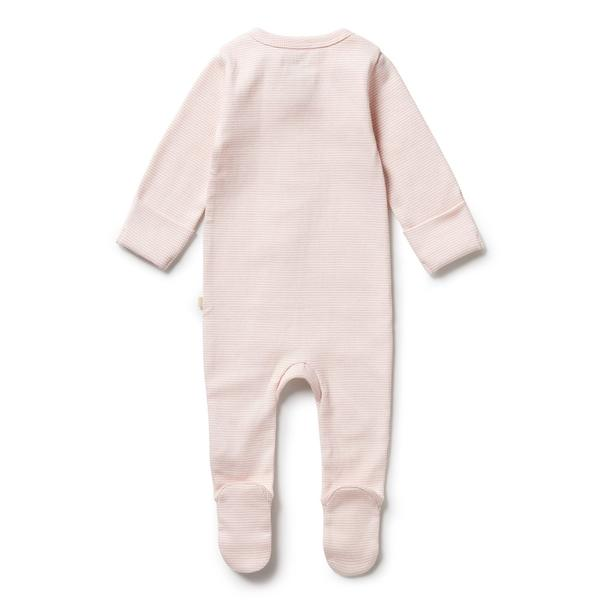 Wilson and Frenchy Organic Stripe Rib Zipsuit with Feet (cantaloupe)