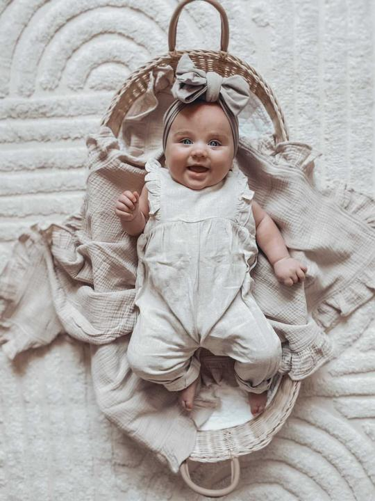 Little B's Nursery Linen Sleeveless Overall (sand)