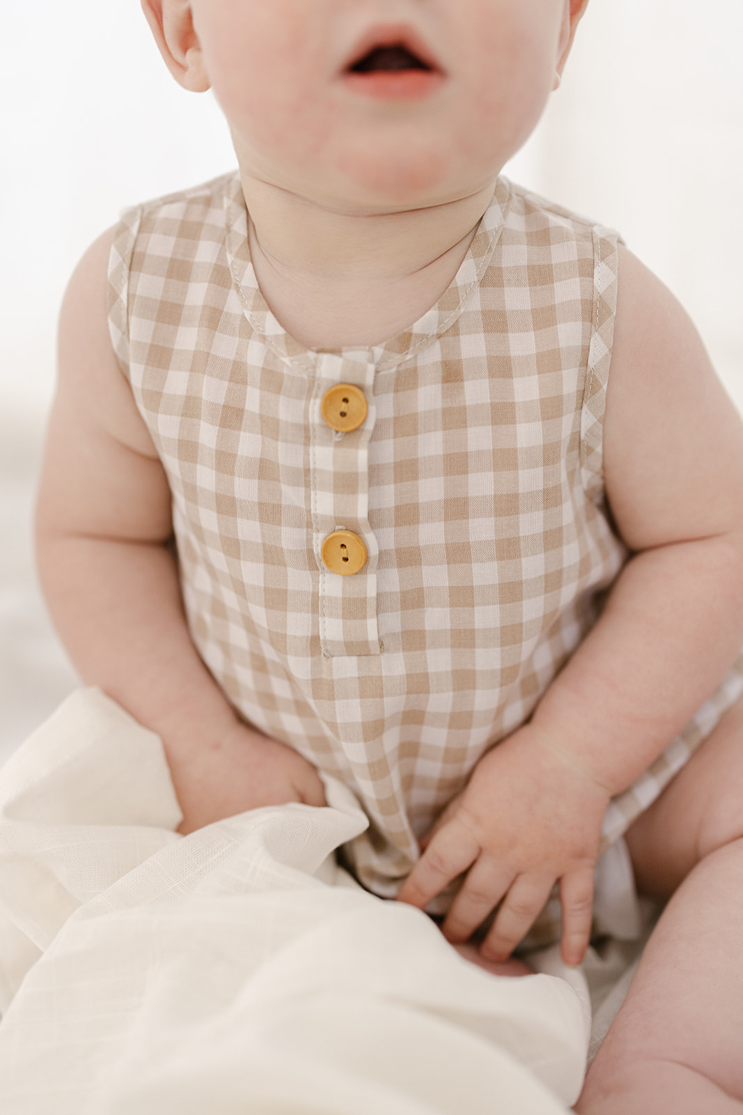 Two Darlings Gingham Bubble Romper (sand)