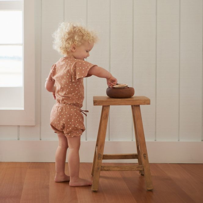 Nature Baby Petal Sleeve Bodysuit (flora cork marl)