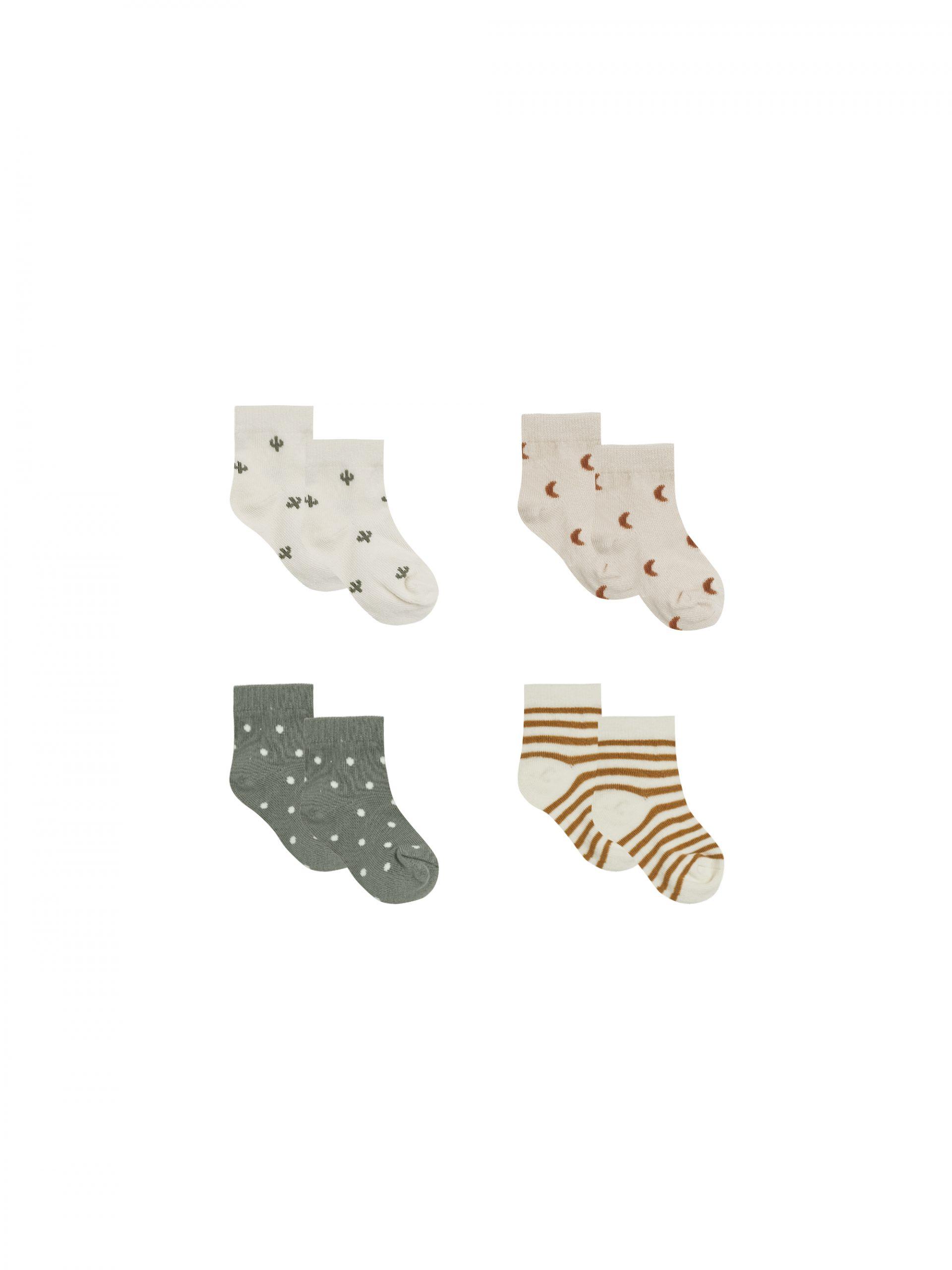 Quincy Mae Printed Socks 4 Pack (ivory,walnut,natural,basil)**PRE ORDER