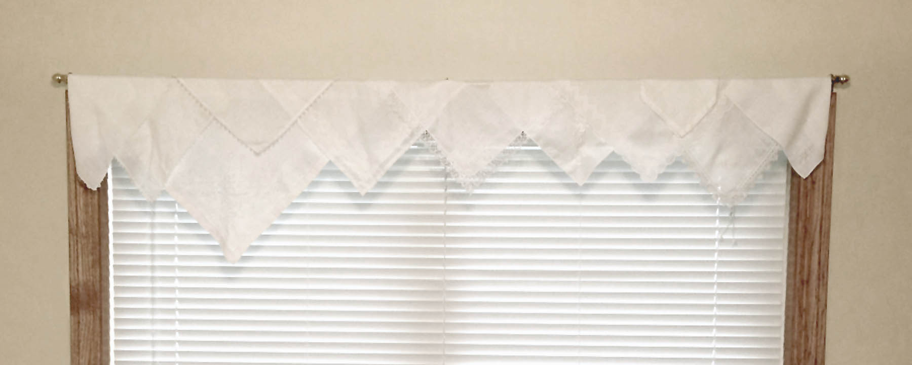 Grandma's hankies made into a valance {Love My DIY Home}