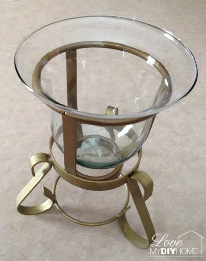 Before pic of a brass and glass candle holder redo - drab to fab!