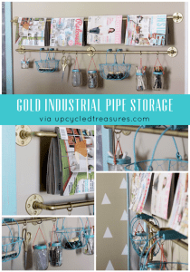 Gold Industrial Pipe Rail Storage | Upcycled Treasures