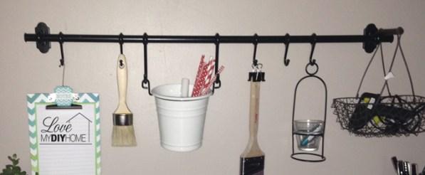 IKEA bar for craft room storage {Love My DIY Home}
