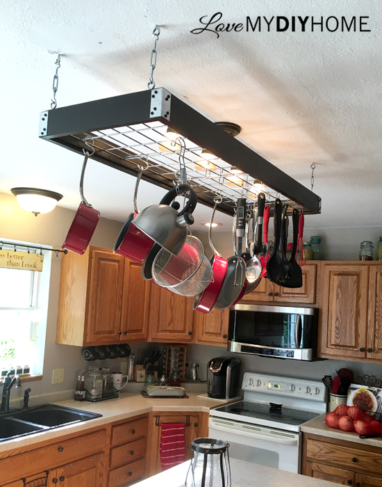 Island Pot Rack {Love my DIY Home}
