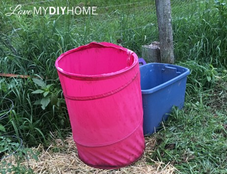 Repurposed hamper for in the garden {Love My DIY Home}