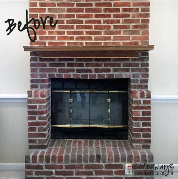 Brick fireplace update by leslie stocker love my diy home - How to make a brick fireplace look modern ...