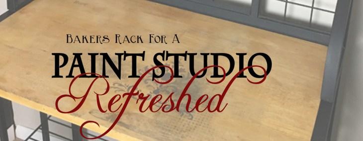 Bakers Rack Repurposed as Paint Studio Storage