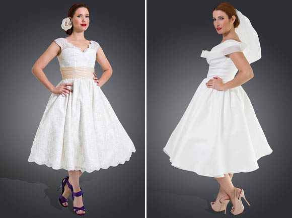 Short, Tea Length And 1950's Inspired Wedding Dresses By