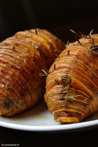Geroosterde zoete aardapel met rozemarijn en spek 2
