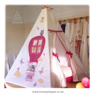 Childrens personalised pink hot air balloon teep