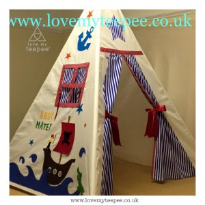 Childrens personalised pirate ship teepee