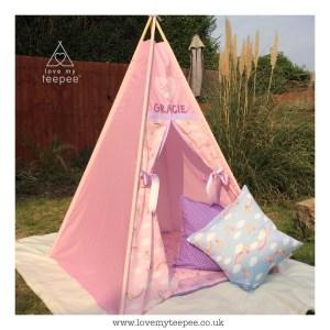 Childrens personalised pink fairy castle teepee