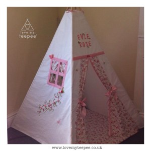 Childrens personalised trailing roses floral teepee