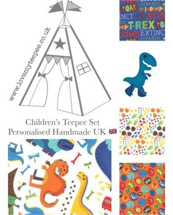 kids dinosaur personalised teepee set