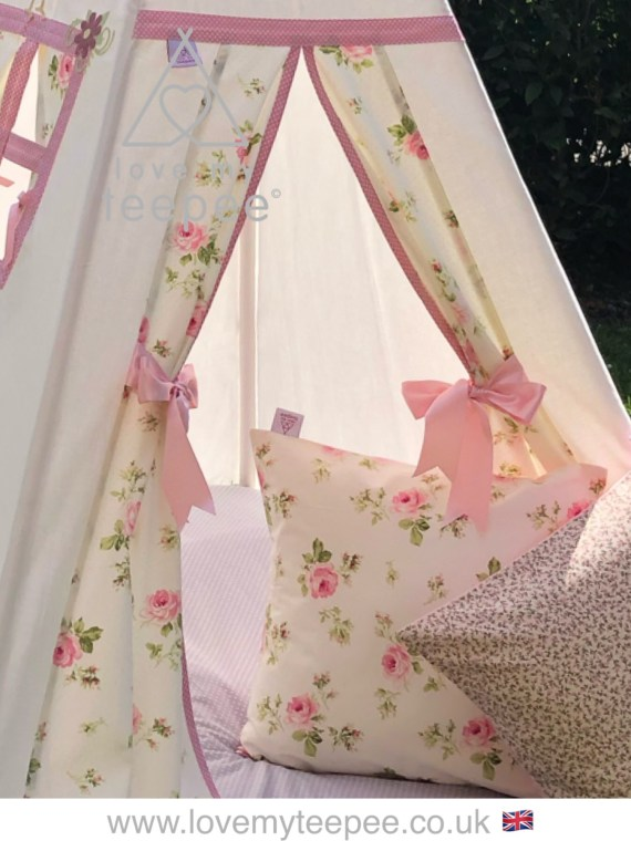 cream and pink rose kids teepee tent with pink ribbon tiebacks