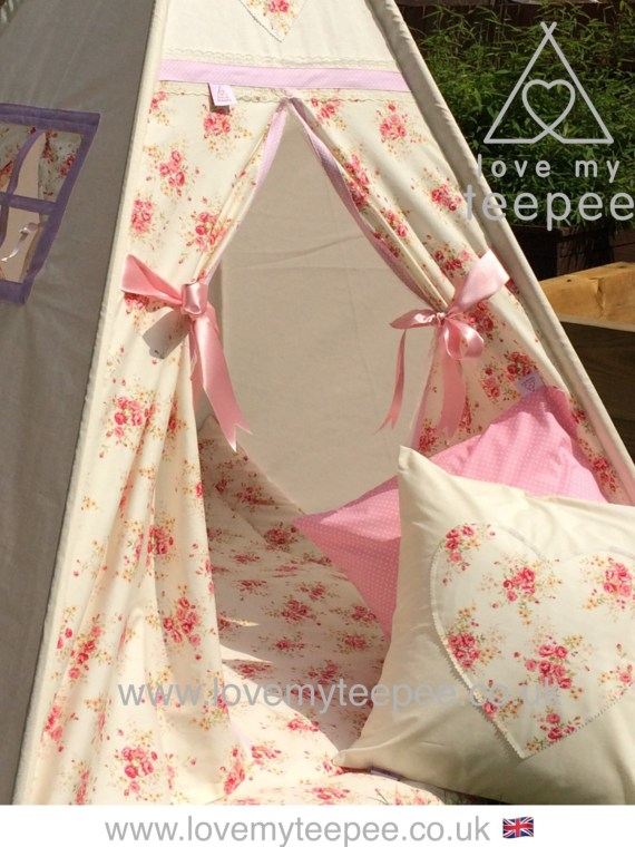 shabby chic cream and pink rose teepee and mat