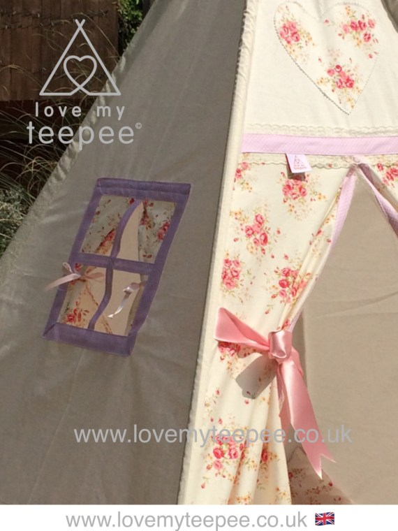 shabby chic cream and pink rose teepee window