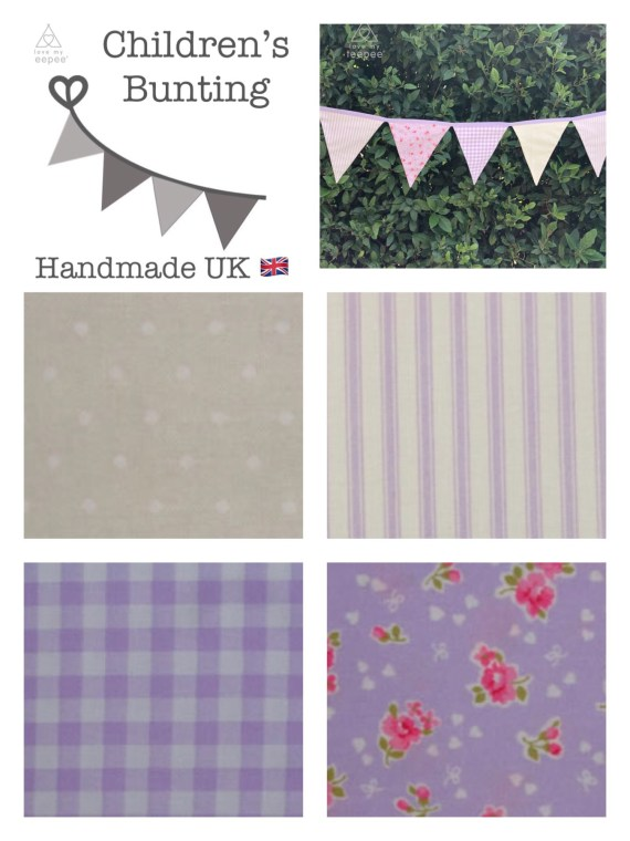 lilac childrens fabric bunting