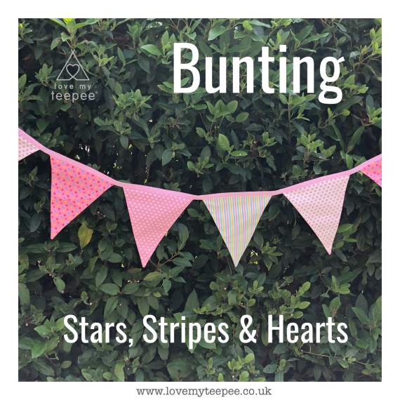 stars, stripes, hearts fabric bunting for kids pink lemon blue mint