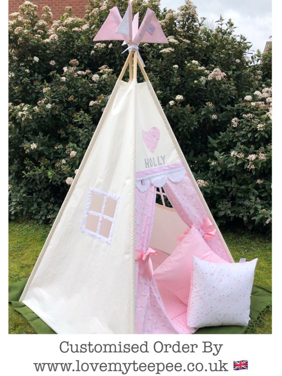 girls ivory teepee with pink unicorn door fabric side window frame personalised with a name and pole flags