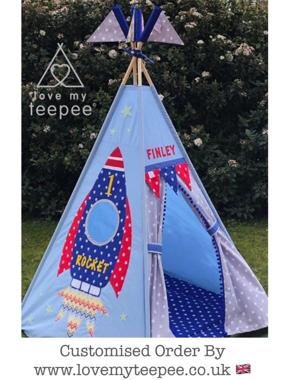 rocket teepee tent personalised handmade