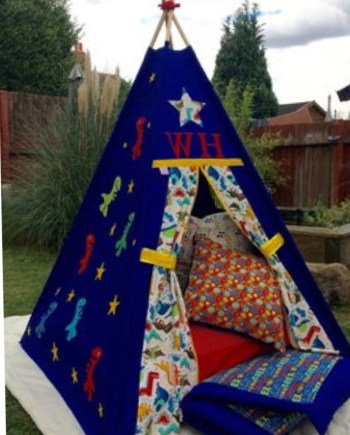 blue themed dinosaur teepee tent personalised