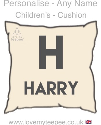 personalised initialled children's cushion