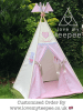 girls personalised pink and grey unicorn teepee with pole fags