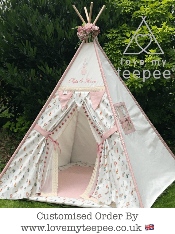 boho style personalised pink peter rabbit teepee tent with ivory lace doors