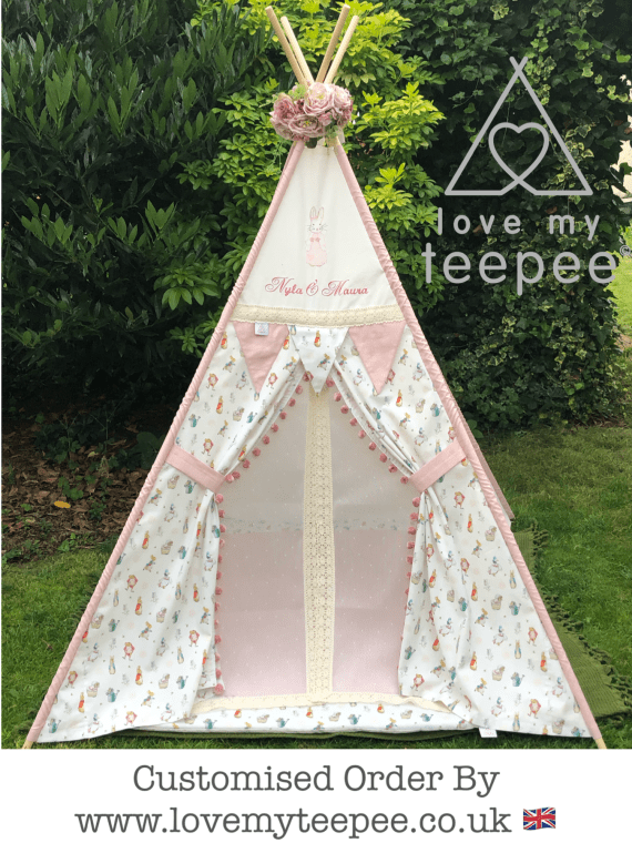 kids personalised pink peter rabbit teepee tent with ivory lace doors