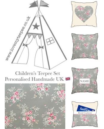 english rose pink and grey teepee set