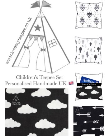 black and white cloud teepee tent