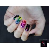 Rainbow geomtric nail art
